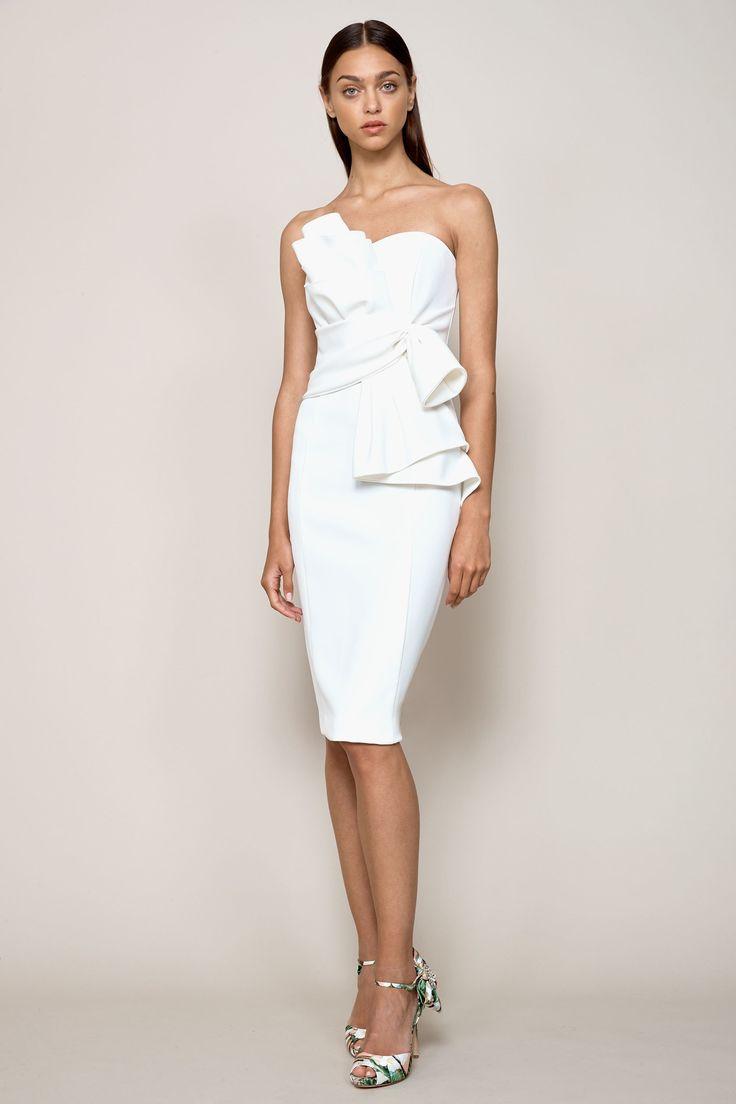 White dress cocktail - Badgley Mischka Resort 2018 Fashion Show