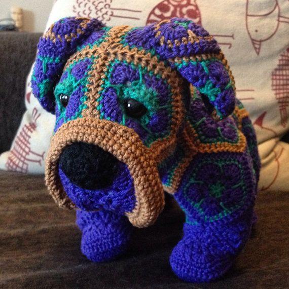Custom handmade Crochet African Flower Bulldog by Lineandloops $48.77