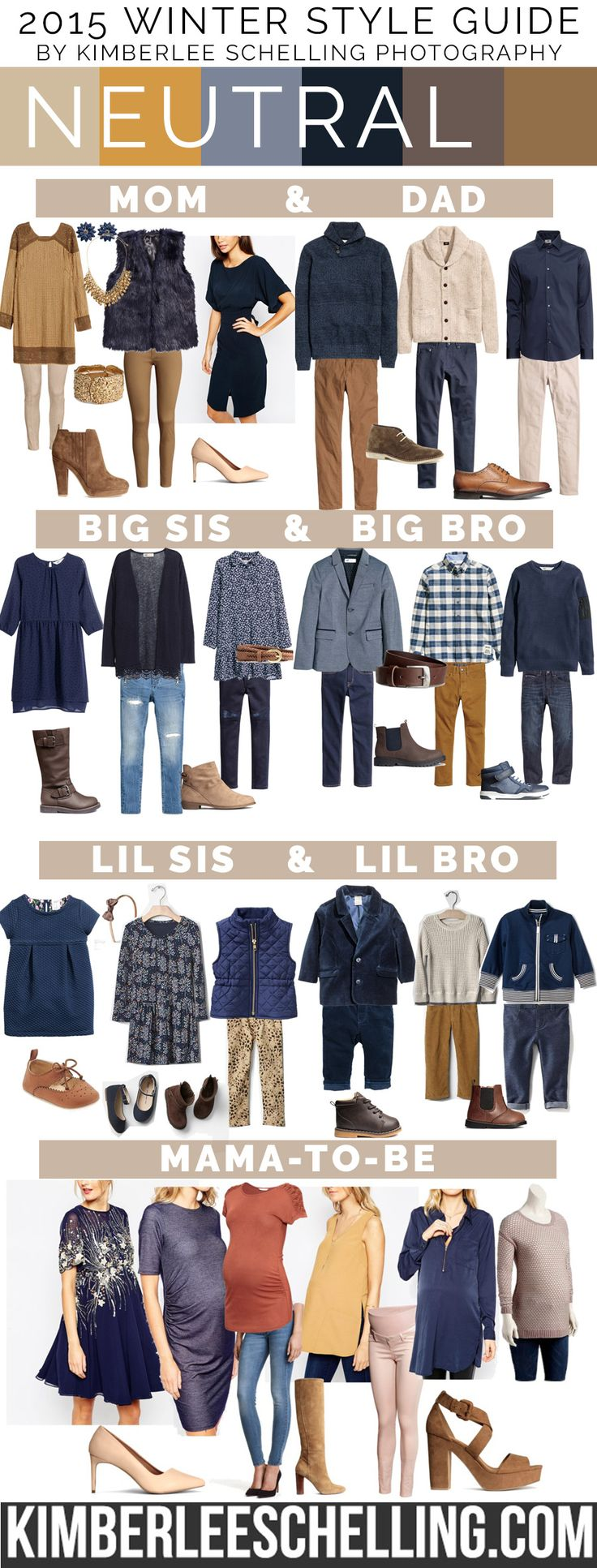 NEW - Updated Neutral style board for 2015! What to wear for your family photos, including mom, dad, big sis & bro, little sis & bro, and also some maternity style outfit ideas! By Kimberlee Schelling Photography