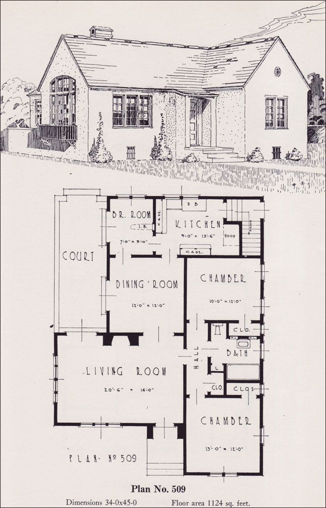1926 portland home plan by universal plan service no for Small spanish style house plans