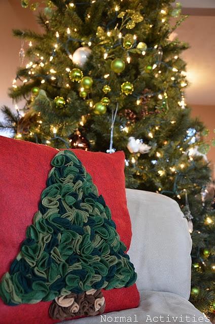 felt tree pillow with circle ruffles