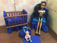 Barbie Or Monster High,baby Nursery Set furniture crib,sofa,Carrier. Robecca