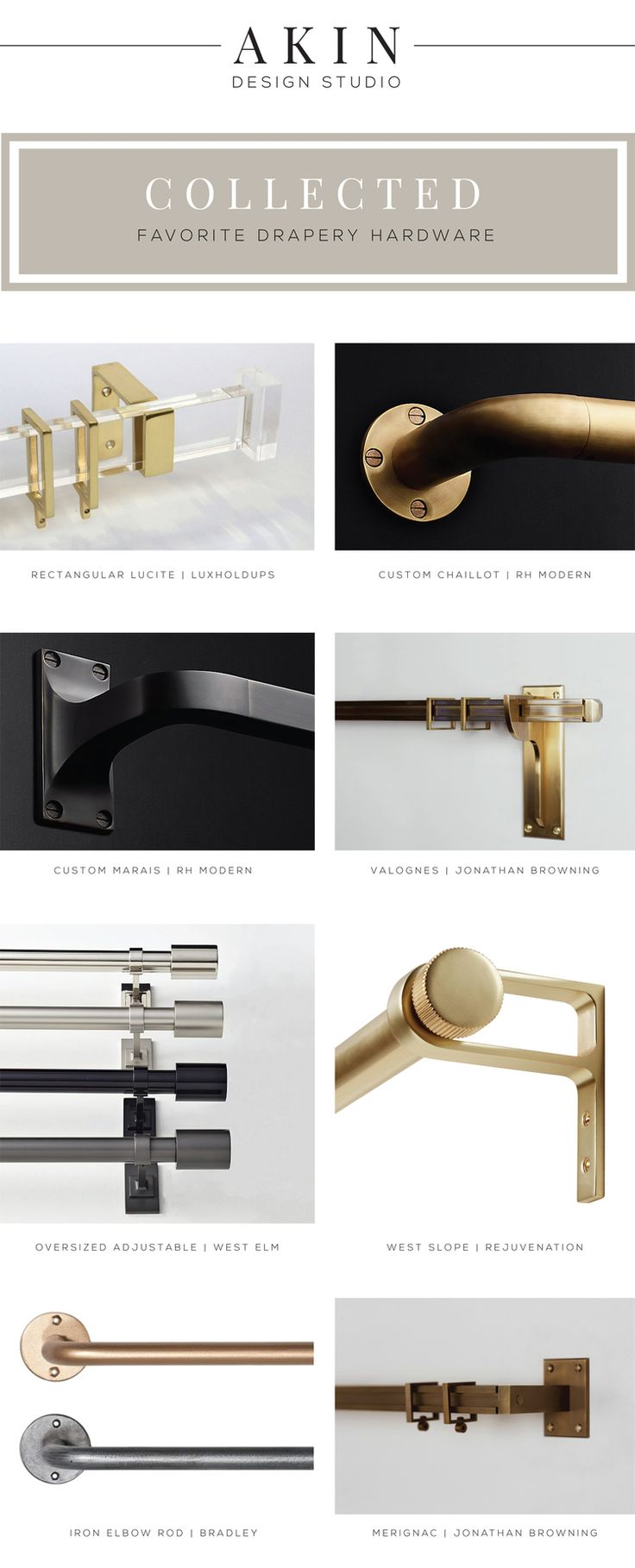 Akin Design Studio's Favorite Drapery Hardware | Modern window hardware