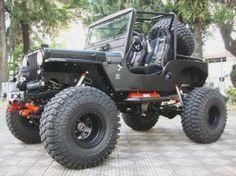 Jeep Willys CJ-3A preto