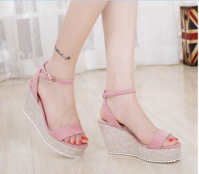 Vrouwen Vooruitgang zomer sandalen wiggen Hoge Hakken Groen Zwart Roze Platform Plus size 35-41 scrub schoenen Open teen