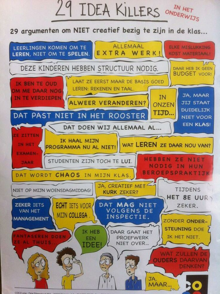 """Schitterend (& herkenbaar :O) """"@Edushock: 28 idea killers in het #onderwijs van @COCDvzw via @Lievds pic.twitter.com/XyY9025uL3"""""""
