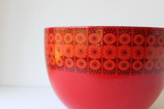 Vintage Kaj Franck Enamel Bowl Red Daisy Large by foxbride on Etsy