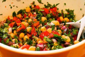 Kalyn's Kitchen: Chickpea (Garbanzo Bean) Salad Recipe with Tomatoes, Olives, Basil, and ParsleyFood Recipes, Salad Recipes, Chickpeas Garbanzo, Kalyns Kitchen, Chickpeas Salad, Beans Salad Recipe, Garbanzo Beans Salad, Bean Salads, Chickpea Salad