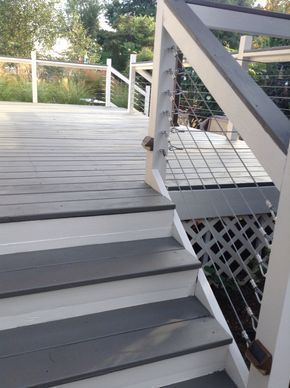 Deck makeover with Sherwin Williams Flagstone in solid stain & cables were added by my husband