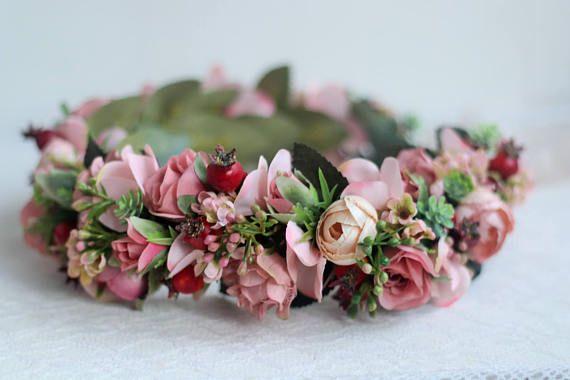 45$ Spring flower crown Blush Rose Flower Crown Roses wedding ##wedding #crown #flowers #pink