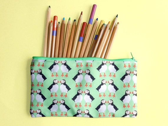 Puffin zip pouch  green pencil case  puffin lover gift