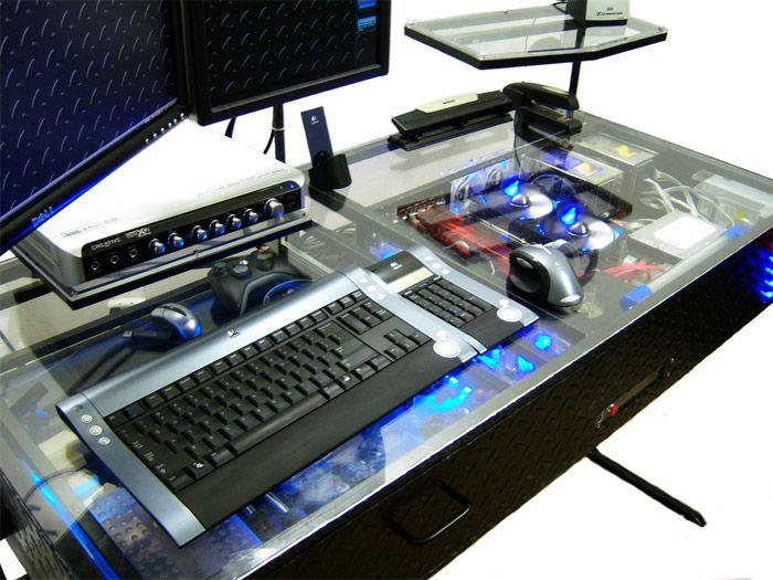 diy ledplexiglass desk computer casecomputer deskscomputer buildcustom - Custom Computer Desk Ideas