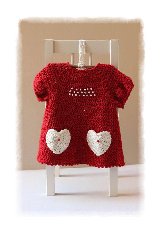 Navidad bebé niña SET vestido y gorro gorrita tejida del