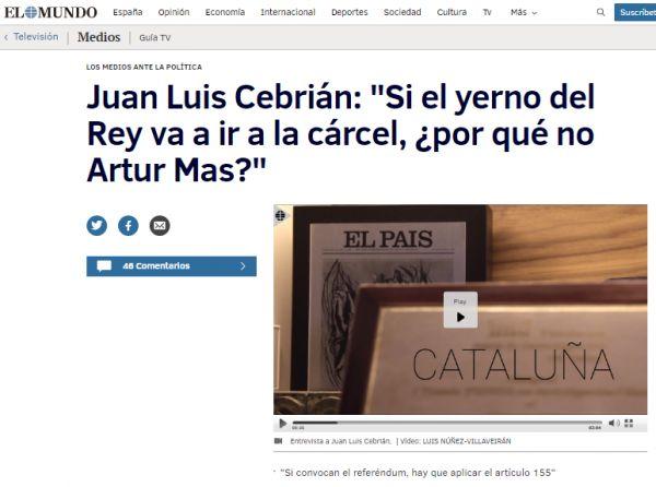 Gerard Sesé @gerardsese - No hi ha cap dubte que la caverna es coordina sovint per atacar el procés. Ara, el que pocs es podien imaginar és que dos dels principals diaris que competeixen per a ser el rotatiu principal de les espanyes, El Mundo i El País, es conxorxessin de manera tan descarada per atacar el procés. I és que El Mundo ha entrevistat a Juan Luis Cebrián, president de Prisa, el grup comunicatiu de El País. Sense anar més lluny, el titular de l'interviu és: Si el yerno del Rey...
