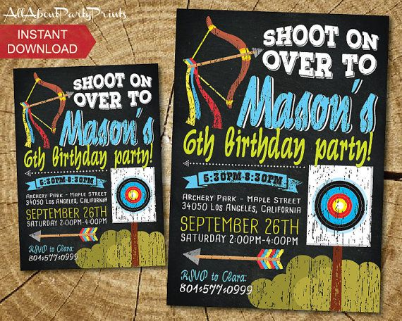 Archery/ bow themed birthday party by AllAboutPartyPrints on Etsy