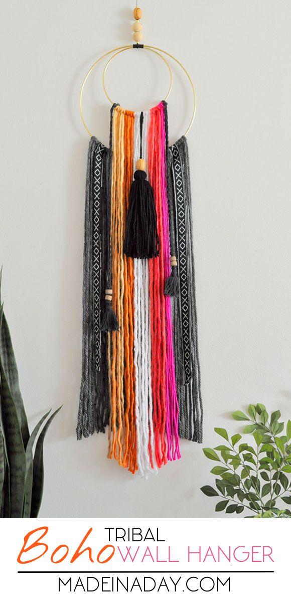 Easy tutorial to make a DIY Colorful Baja Boho Fringe Wall Hanging, Bohemian home decor, Baja Hoodie fabric, crescent moon wall art, yarn wall art, macrame  via @madeinaday