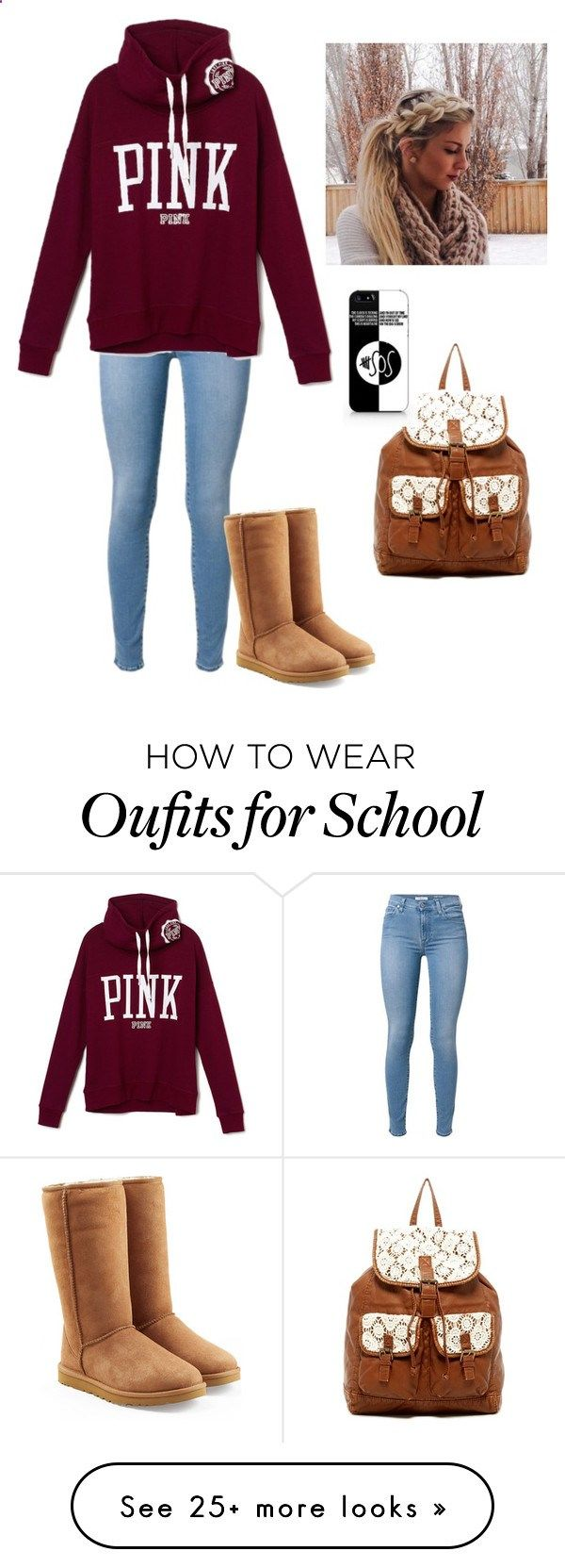 me at school by aye-its-angie on Polyvore featuring UGG Australia, T-shirt  Jeans and Samsung