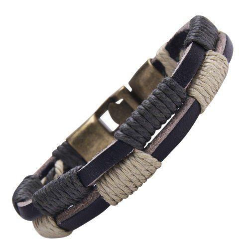 R&B Bijoux - Bracelet Homme - Manchette Double Tour & Fermoir Style Nautique - Cuir, Corde & Métal (Noir, Ivoire, Or): Amazon.fr: Bijoux
