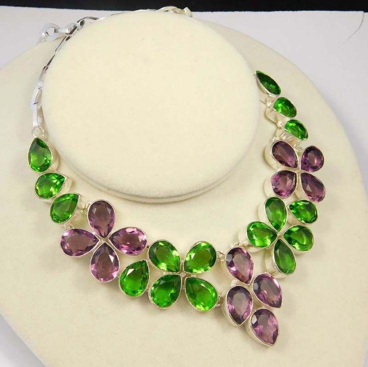 Faceted Peridot & Amethyst Quartz .925 Silver Handmade Necklace Jewelry MU924 #Handmade