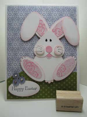 handmade Easter card by Goin Over The Edge: Punch art bunny rabbit card ... luv the patterned paper as the paw pads ... Stampin' Up!