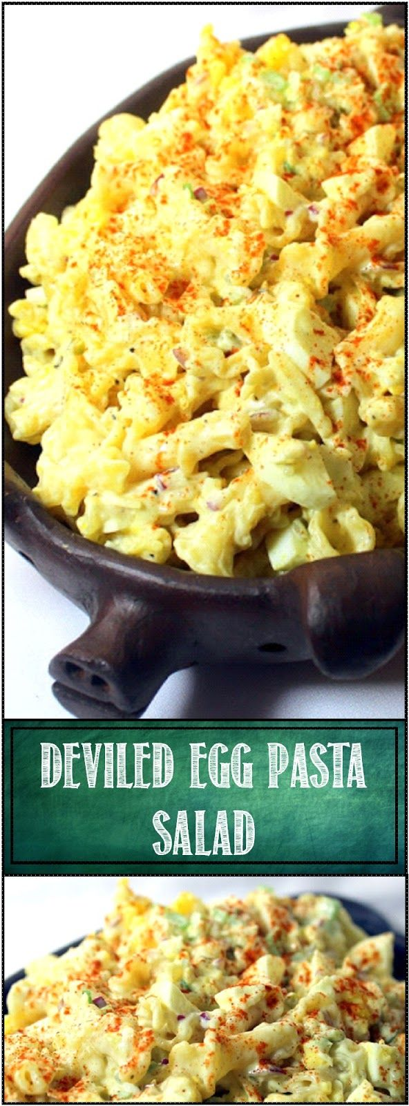DEVILED EGG PASTA SALAD - Church PotLuck Side Dish... This is a FANTASTIC side dish. Surprisingly tasty, creamy sweet and tangy pasta salad. Best served cold, travels well so PERFECT to bring for any POTLUCK DINNER! All the taste of Deviled Eggs added to the sauce!