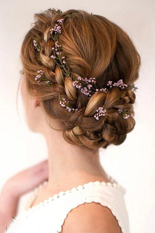 Updo Wedding Hairstyles With Flower Crown Weddinghairstyles Flower Crown Hairstyle Medium Hair Styles Medium Length Hair Styles
