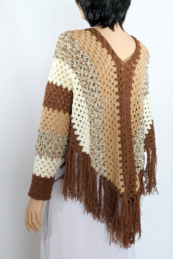 Poncho cape pattern Shawl pattern Striped poncho Crochet Sleeved ...