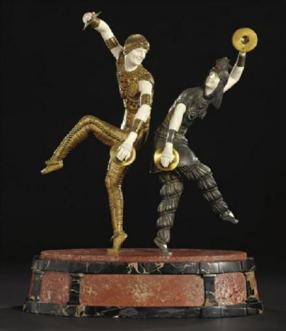 "Chiparus, Russian Dancers"", 1928, Gilt, cold-painted and ivory"