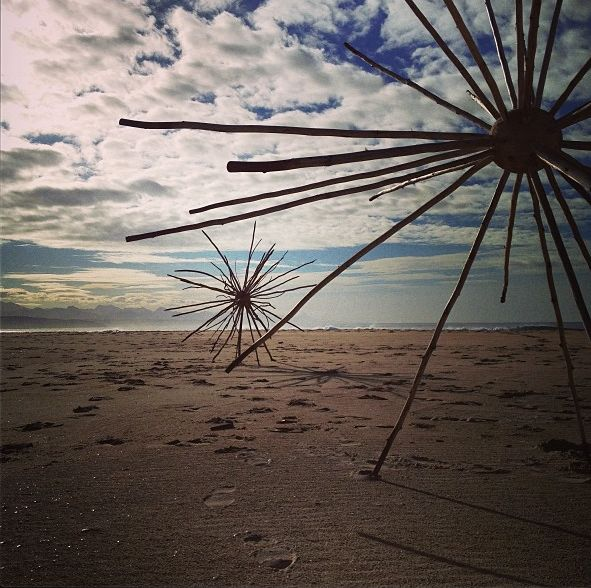 "INSTAGRAM 22 Aug. Laura Chatz (photo). 'Radial Symmetry' by Cha Davenport at Lookout Beach in Plettenberg Bay. ""I wonder at the simple and elegant symmetry and patterning of molecules, universal structures and everything in between."" Site_Specific #LandArtBiennale. #LandArt #Plett"