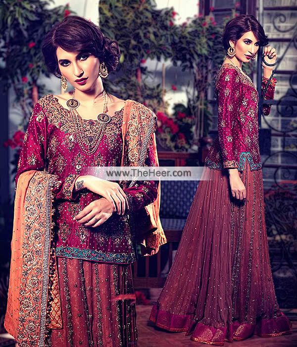BW6809 Light Burgundy Burnt Sienna Dark Burnt Sienna Crinkle Chiffon Lehenga Be an angel and create and ascertain a smashing effect on anyone by wearing this bridal dress on your wedding event.. .   Top: Light Burgundy Crinkle Chiffon Shirt features stylish and sophisticated embellishments accent the neckline, front, sleeves, side chalks and hemline. Small sized ornamental motifs are made all-over. Full length sleeves. Round neckline. Concealed zip closure back. Lining inside. Edges…