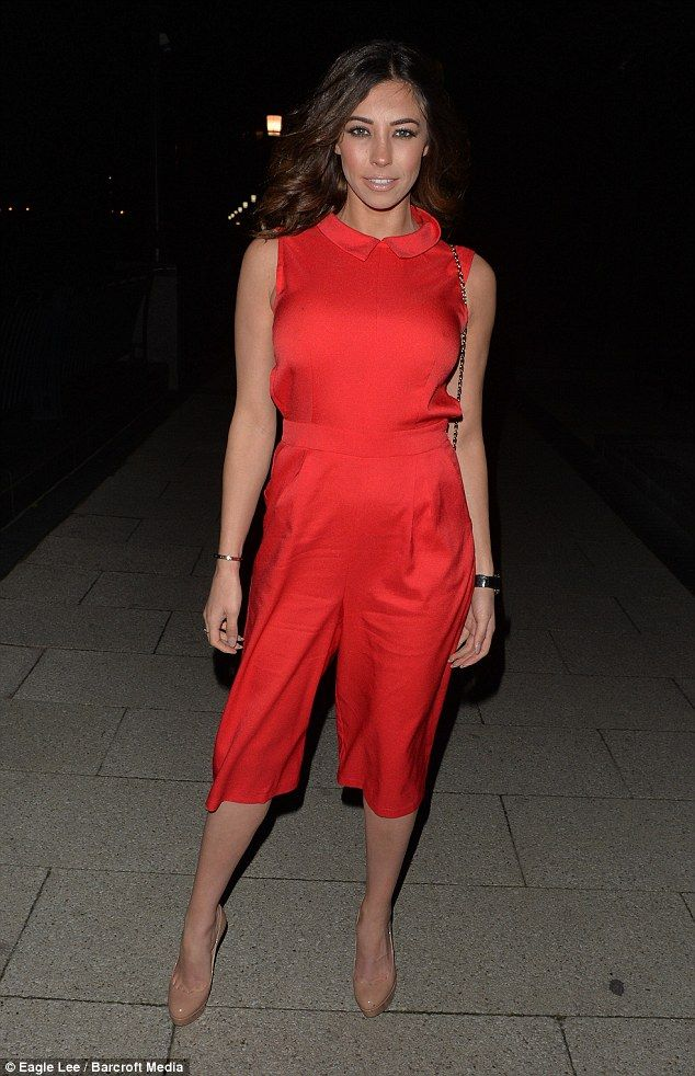 Lady in red: Former TOWIE beauty Pascal Craymer opted for a more colourful look, rocking a bold red playsuit with cutaway sides as she joined Gemma on the town