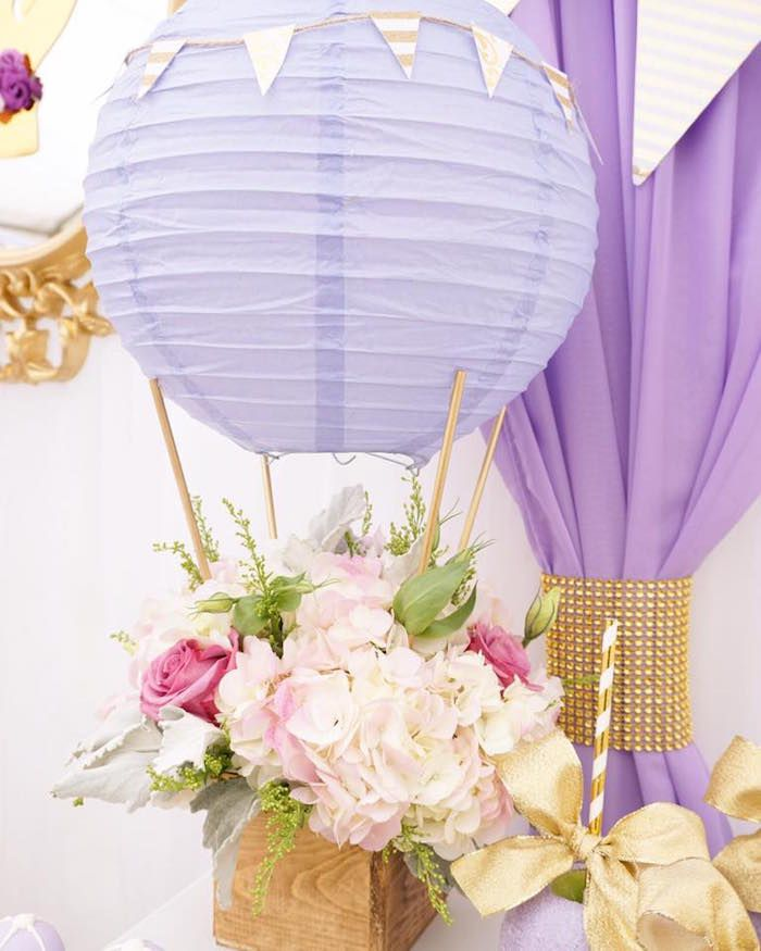 Hot air balloon floral arrangement from a Hot Air Balloon Baby Shower on Kara's Party Ideas   KarasPartyIdeas.com (8)