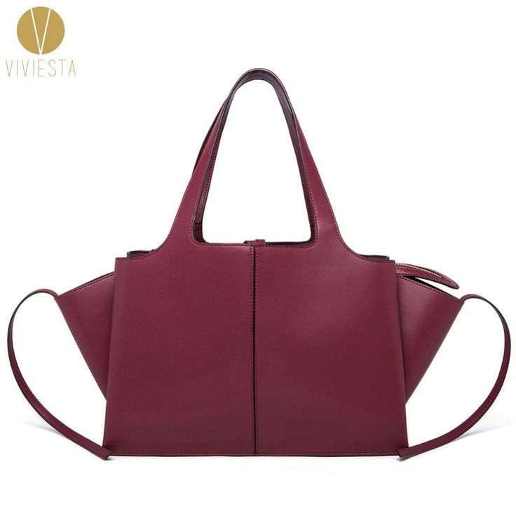 GENUINE LEATHER TRI-FOLD TOTE Women's Trapeze Large Wings Shopping Shoulder Bag #VIVIESTA #TotesShoppers