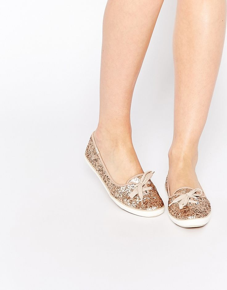 Image 1 of Keds Teacup Gold Glitter Plimsoll Trainers