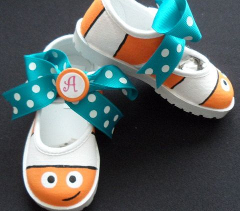 Nemo Mary Jane Velcro Hand Painted Shoes by tickledtoes on Etsy, $40.00    So cute!