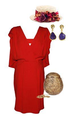 canotier para vestido rojo - canotier flores y clutch dorado me encanta!