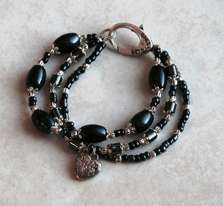 Beaded Black agete three strand bracelet made by HeartBeads. https://www.facebook.com/heartbeadsjewellery