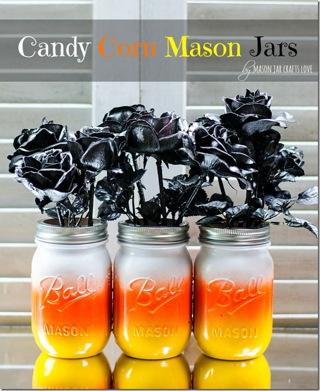 Candy Corn Mason Jars - So quick, so easy, so cute! This Halloween craft idea is perfect for fall.
