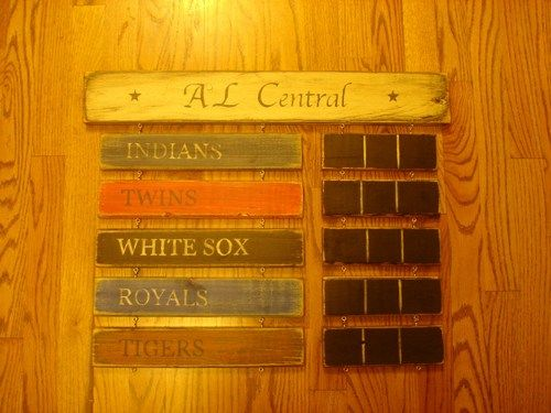AL Central Standings board Twins Tigers Indians Royals White Sox sign | MyRusticBoardSigns - Woodworking on ArtFire