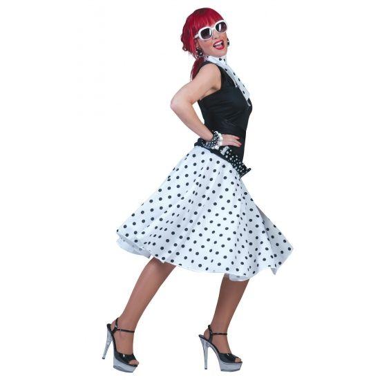 Witte Rock en Roll rok met bijpassende shawl. Deze jaren 50 / Rock en Roll rok is wit van kleur en heeft zwarte stippen. De witte Rock en Roll rok kan in 3 maten worden gesteld door middel van 3 knoopjes. De verstelbare maten zijn S, M en L. Voor meer Rock en Roll artikelen kunt u ook terecht in deze winkel.
