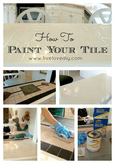 How To Easily Paint Outdated Tile In Only 2 Steps! Click Through For Full  Tutorial. Paint The Kitchen Counter! AND The Ugly Bathroom Tile!
