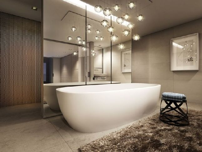 These beautiful fairy lights look amazing over the bath. In Australia light fittings may be placed behind or beside however, not directly over a bath due to safety regulations. Ambient lighting adds a touch of luxury to a bathroom. The mirrors and plus floor rug complete the elegant look. Photo credit: globalstudentoutreach.org