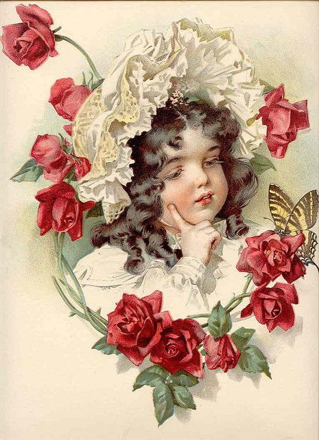 Poses and Roses: Vintage Images, Vintage Graphics, Girls, Graphics Art, Vintage Children, Illustration, Victorian, Red Rose, Vintage Cards