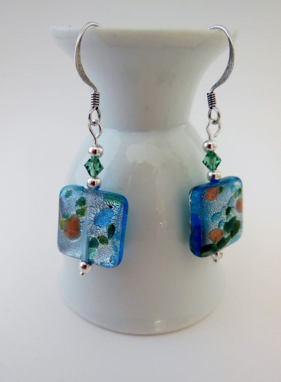 Aqua murano glass tile earrings. glass and crystal by LeelysBeads, €12.00
