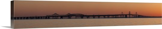 Bridge across a bay at sunset Chesapeake Bay Bridge Chesapeake Bay Maryland