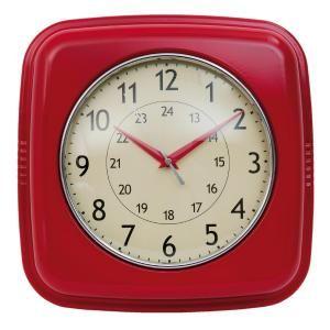 Retro klok metaal rood vierkant - 8717459475441 - Avantius