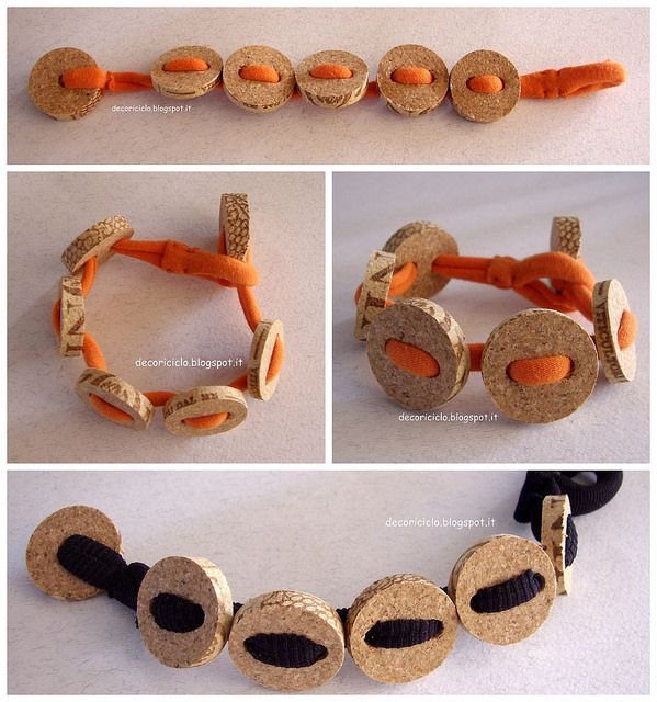 Collage bracciali T-shirt+sughero arancione e nero by decoriciclo, via Flickr