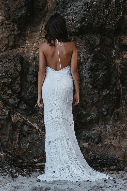 Una by Lovers Society available at The Bridal Atelier www.thebridalatelier.com.au @thebridalatelier #sheisthebridalatelierbride || Modern bohemian lace fitted wedding dress with high sheer neckline, low neck and halter race style tie. With Love, TBA xo.