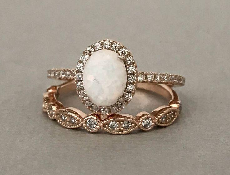 Weißer Feueropal Art Deco Rotgold Simulierter Diamant