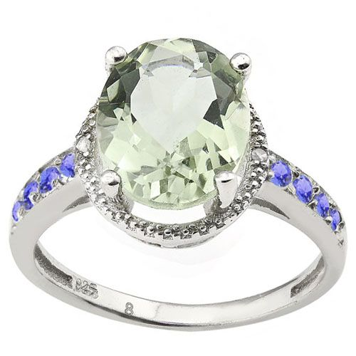 #1264 Oval Cut Green Amethyst and Tanzanite Platinum Ring